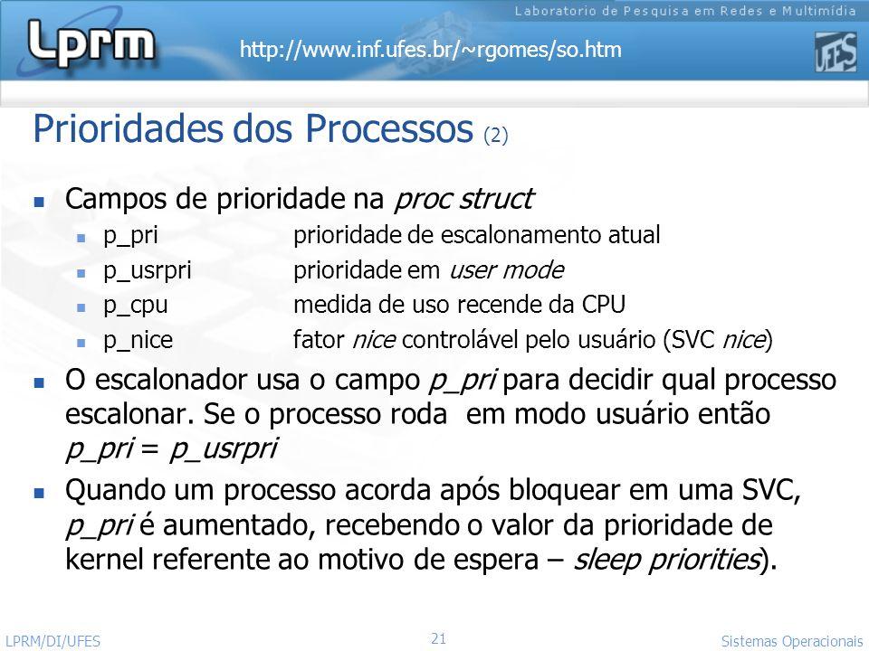 http://www.inf.ufes.br/~rgomes/so.htm Sistemas Operacionais LPRM/DI/UFES 21 Prioridades dos Processos (2) Campos de prioridade na proc struct p_pripri
