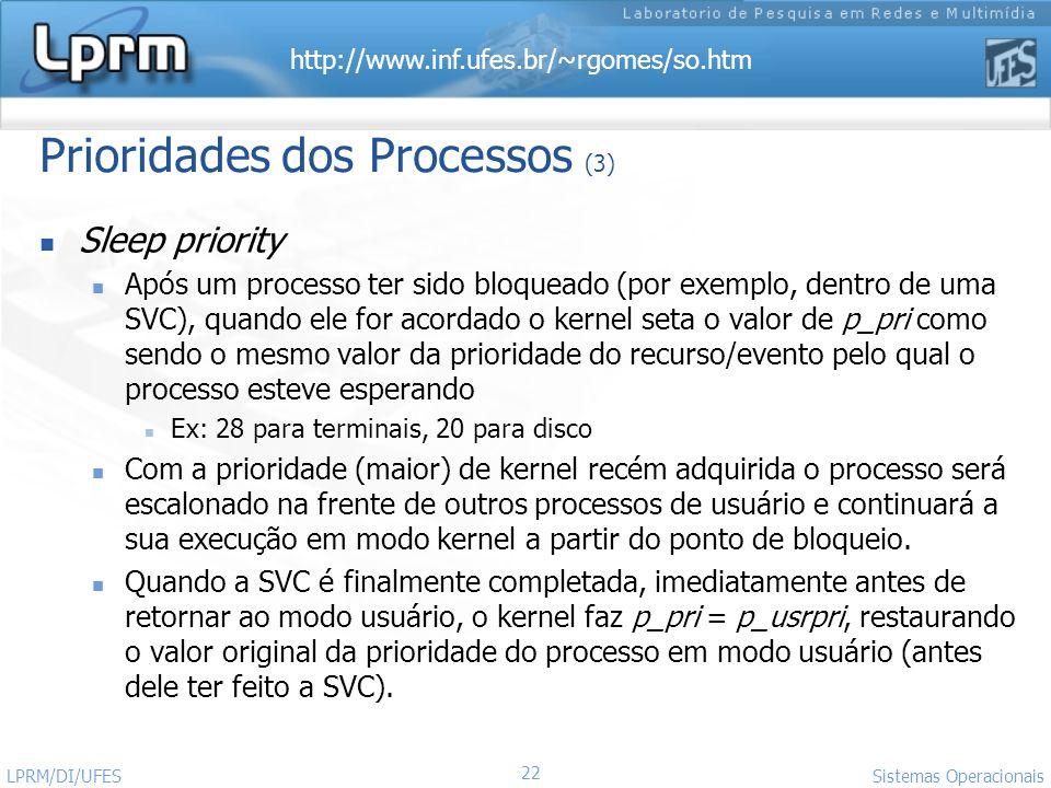 http://www.inf.ufes.br/~rgomes/so.htm Sistemas Operacionais LPRM/DI/UFES 22 Prioridades dos Processos (3) Sleep priority Após um processo ter sido blo
