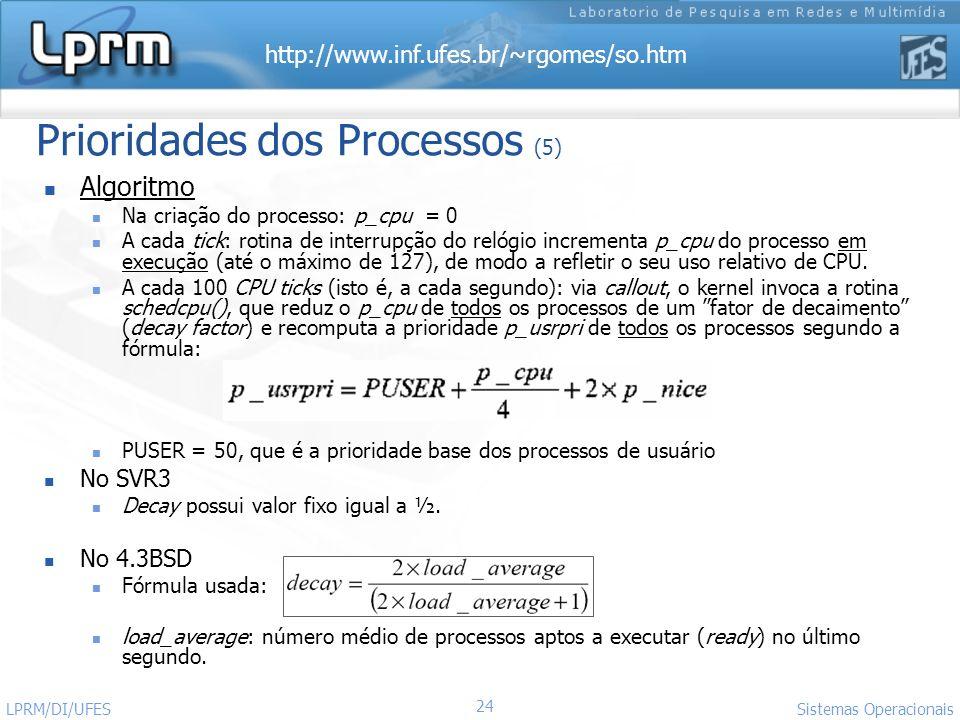 http://www.inf.ufes.br/~rgomes/so.htm Sistemas Operacionais LPRM/DI/UFES 24 Prioridades dos Processos (5) Algoritmo Na criação do processo: p_cpu = 0