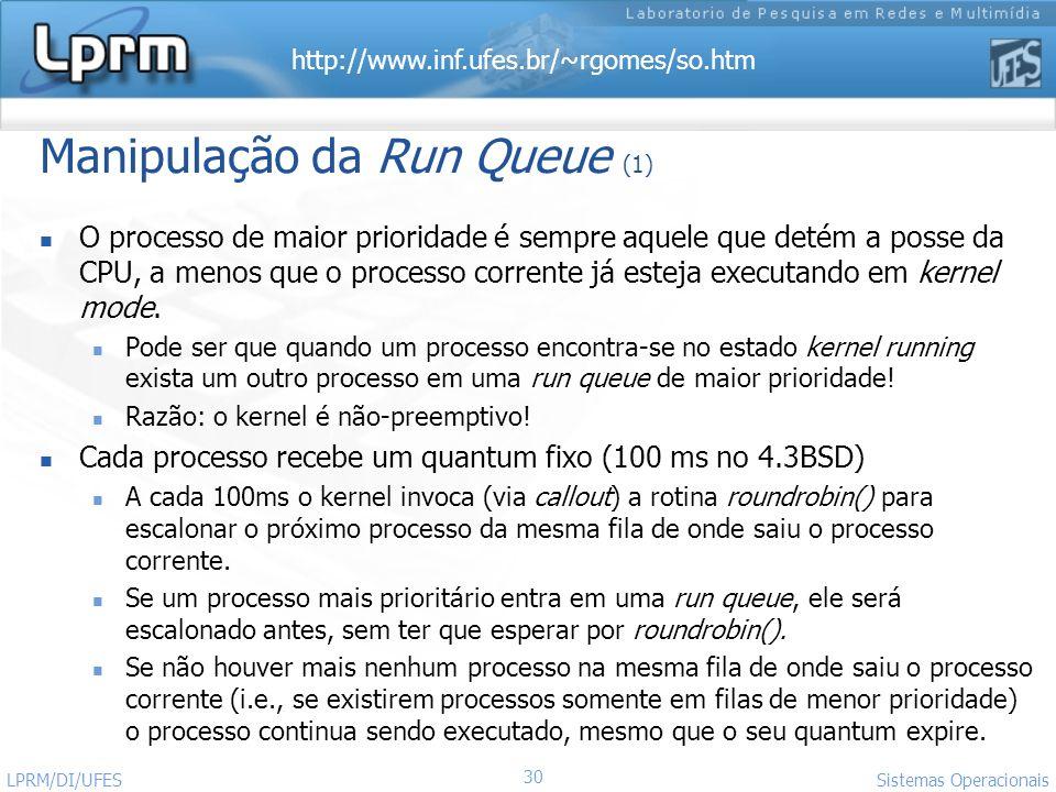 http://www.inf.ufes.br/~rgomes/so.htm Sistemas Operacionais LPRM/DI/UFES 30 Manipulação da Run Queue (1) O processo de maior prioridade é sempre aquel