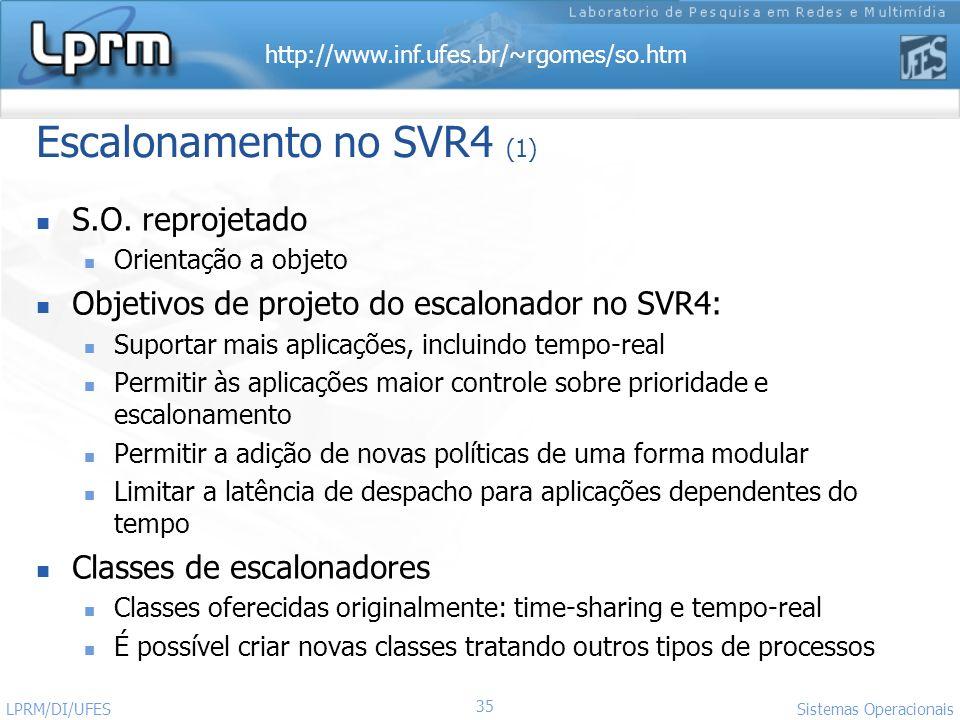 http://www.inf.ufes.br/~rgomes/so.htm Sistemas Operacionais LPRM/DI/UFES 35 Escalonamento no SVR4 (1) S.O. reprojetado Orientação a objeto Objetivos d