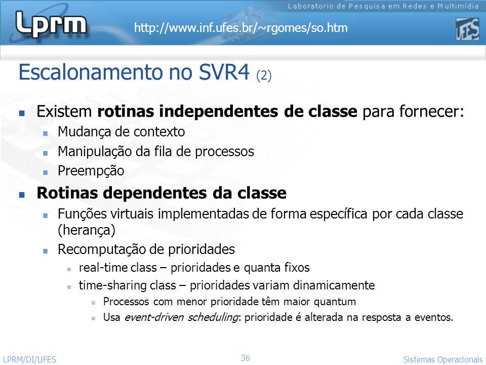 http://www.inf.ufes.br/~rgomes/so.htm Sistemas Operacionais LPRM/DI/UFES 36 Escalonamento no SVR4 (2) Existem rotinas independentes de classe para for