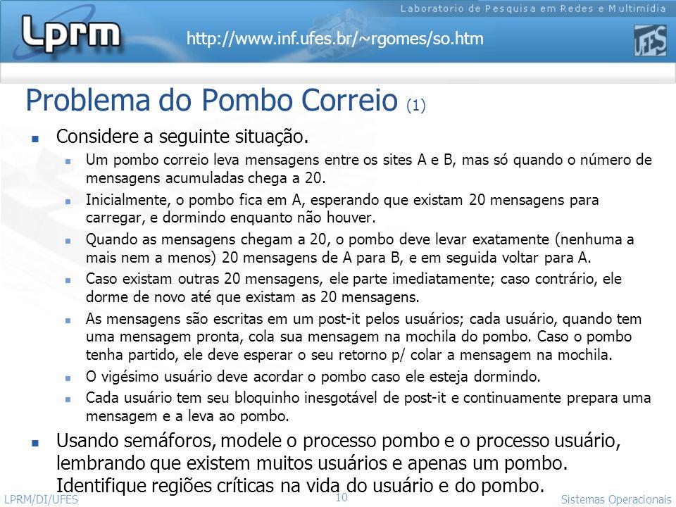 http://www.inf.ufes.br/~rgomes/so.htm Sistemas Operacionais LPRM/DI/UFES 10 Considere a seguinte situação. Um pombo correio leva mensagens entre os si