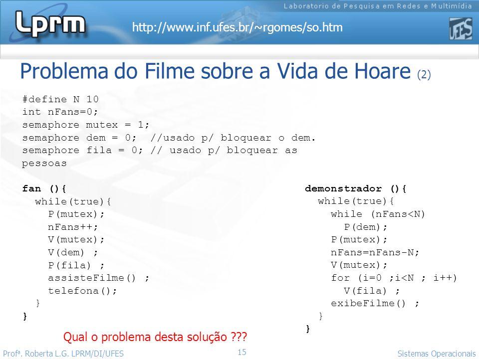 http://www.inf.ufes.br/~rgomes/so.htm Sistemas Operacionais Prof a. Roberta L.G. LPRM/DI/UFES 15 Qual o problema desta solução ??? demonstrador (){ wh