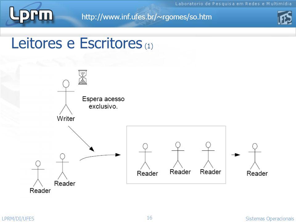 http://www.inf.ufes.br/~rgomes/so.htm Sistemas Operacionais LPRM/DI/UFES 16 Leitores e Escritores (1)