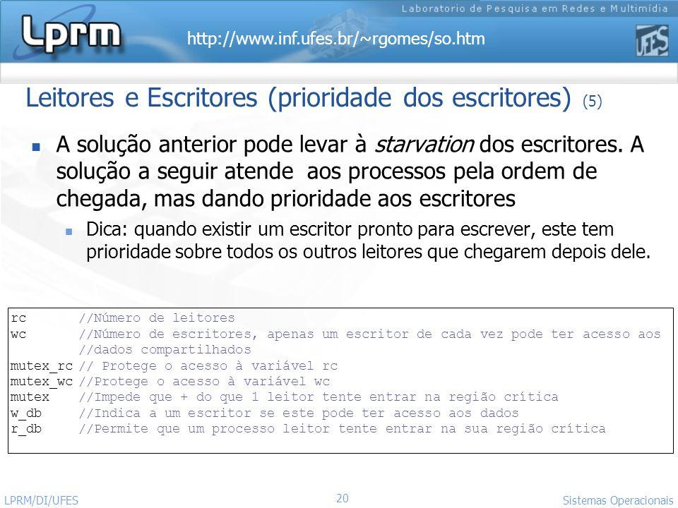 http://www.inf.ufes.br/~rgomes/so.htm Sistemas Operacionais LPRM/DI/UFES 20 Leitores e Escritores (prioridade dos escritores) (5) A solução anterior p
