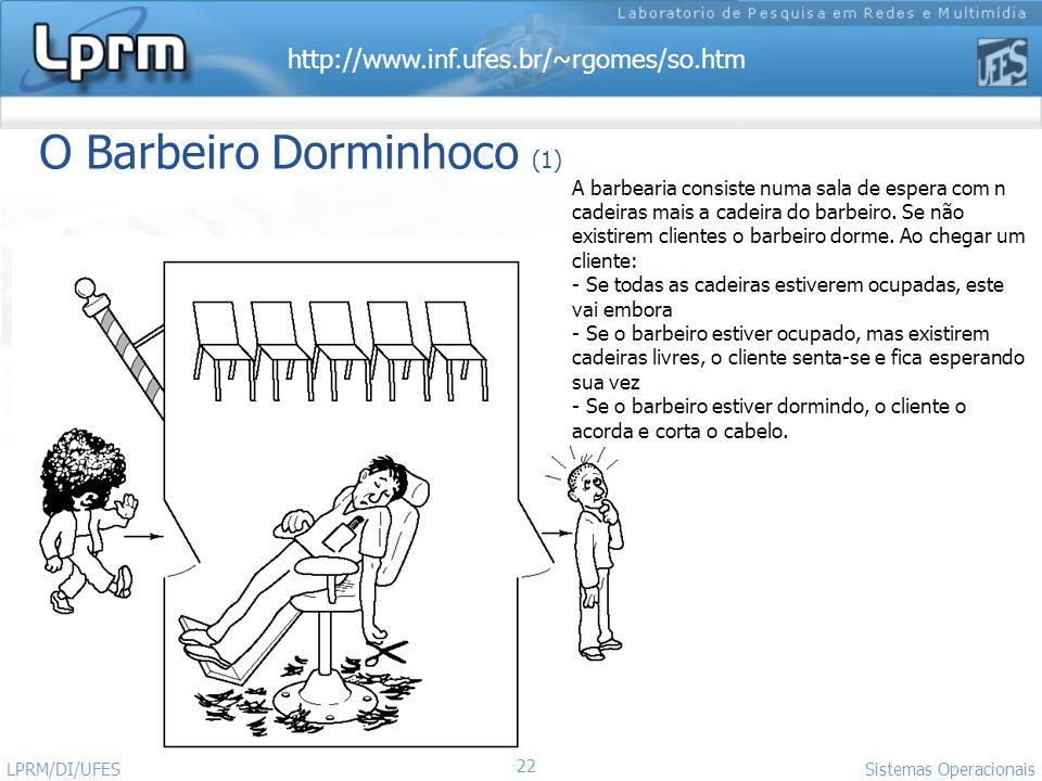 http://www.inf.ufes.br/~rgomes/so.htm Sistemas Operacionais LPRM/DI/UFES 22 O Barbeiro Dorminhoco (1) A barbearia consiste numa sala de espera com n c