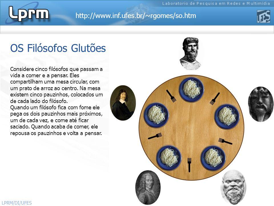 http://www.inf.ufes.br/~rgomes/so.htm Sistemas Operacionais LPRM/DI/UFES 24 OS Filósofos Glutões Considere cinco filósofos que passam a vida a comer e