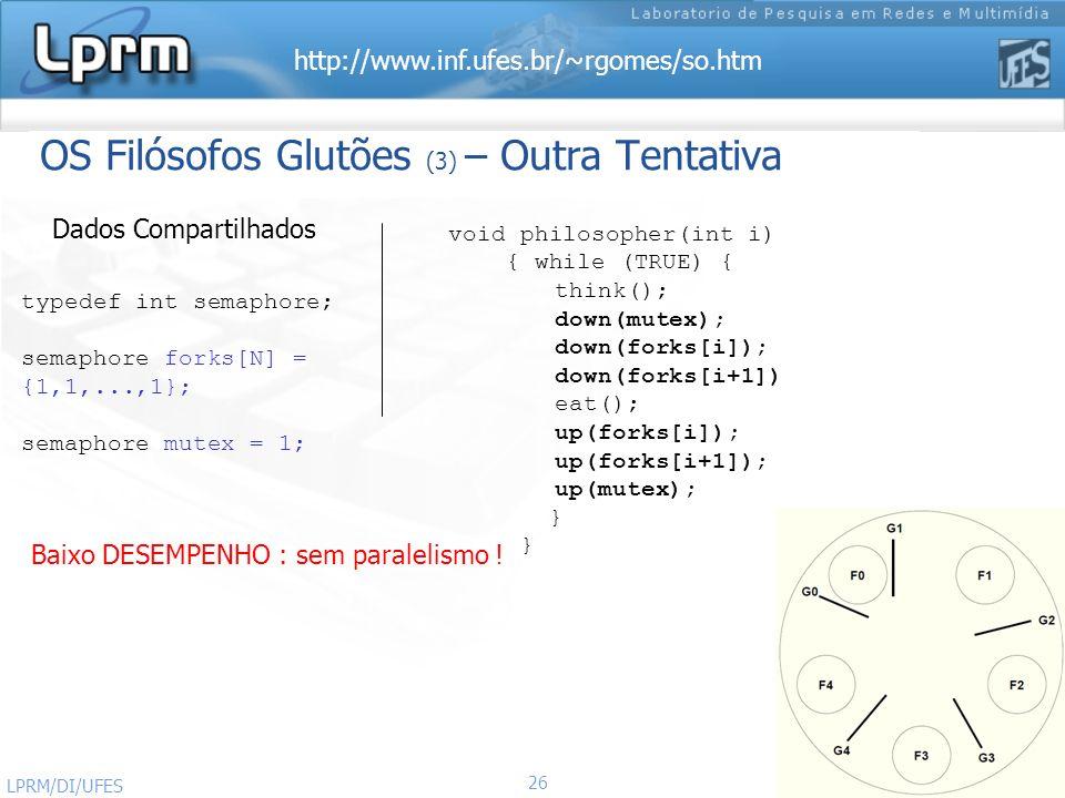http://www.inf.ufes.br/~rgomes/so.htm Sistemas Operacionais LPRM/DI/UFES 26 OS Filósofos Glutões (3) – Outra Tentativa typedef int semaphore; semaphor