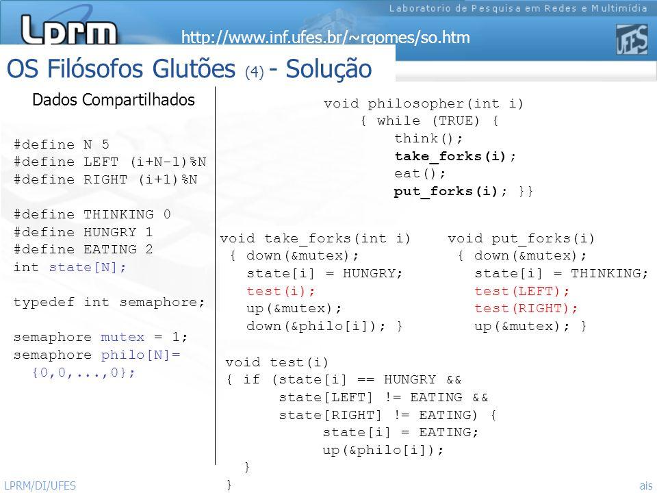 http://www.inf.ufes.br/~rgomes/so.htm Sistemas Operacionais LPRM/DI/UFES 27 OS Filósofos Glutões (4) - Solução #define N 5 #define LEFT (i+N-1)%N #def
