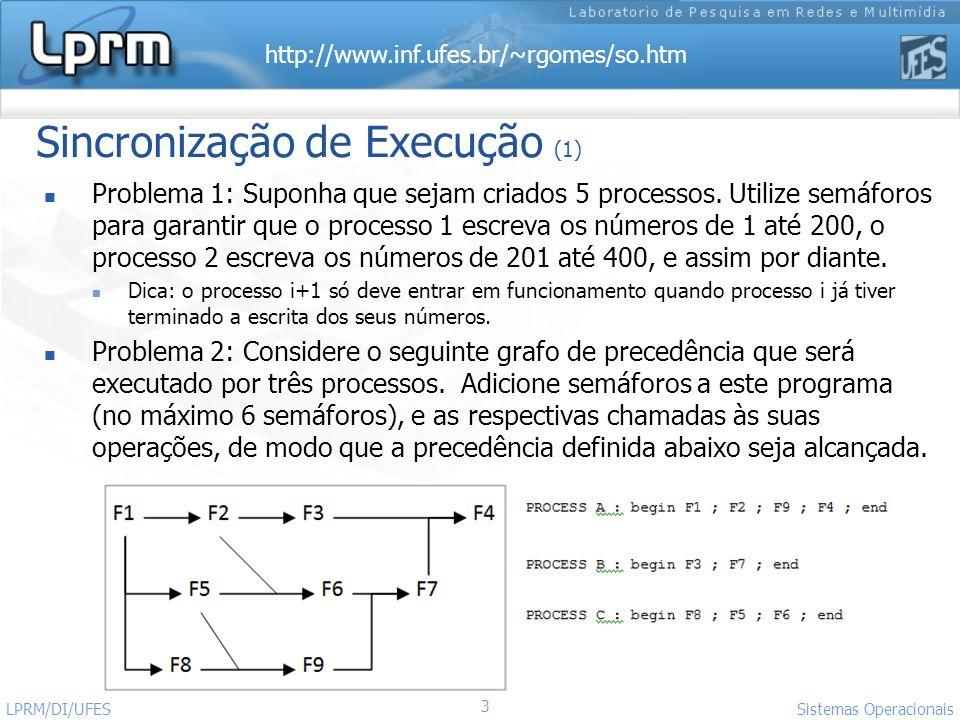 http://www.inf.ufes.br/~rgomes/so.htm Sistemas Operacionais LPRM/DI/UFES 3 Problema 1: Suponha que sejam criados 5 processos. Utilize semáforos para g