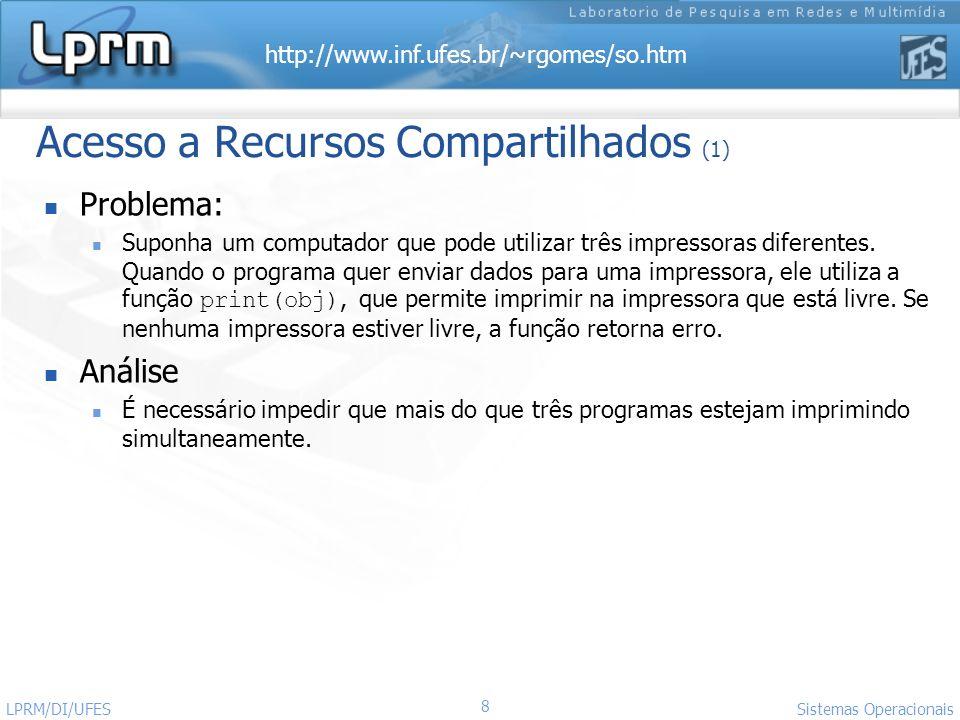 http://www.inf.ufes.br/~rgomes/so.htm Sistemas Operacionais LPRM/DI/UFES 8 Problema: Suponha um computador que pode utilizar três impressoras diferent