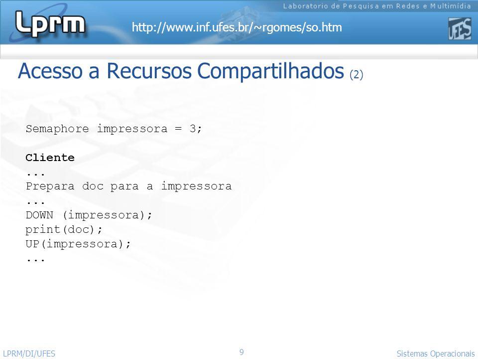 http://www.inf.ufes.br/~rgomes/so.htm Sistemas Operacionais LPRM/DI/UFES 9 Acesso a Recursos Compartilhados (2) Semaphore impressora = 3; Cliente... P