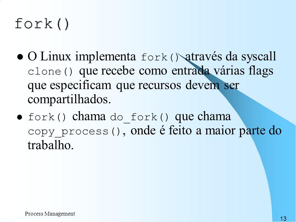 Process Management 13 fork() O Linux implementa fork() através da syscall clone() que recebe como entrada várias flags que especificam que recursos de