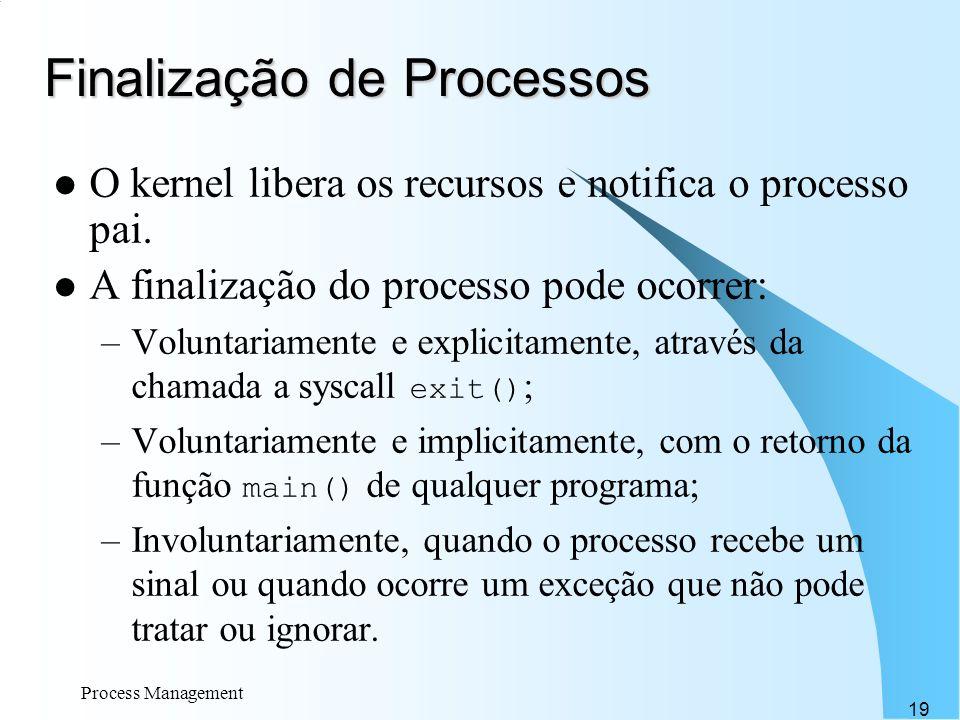 Process Management 19 Finalização de Processos O kernel libera os recursos e notifica o processo pai. A finalização do processo pode ocorrer: –Volunta