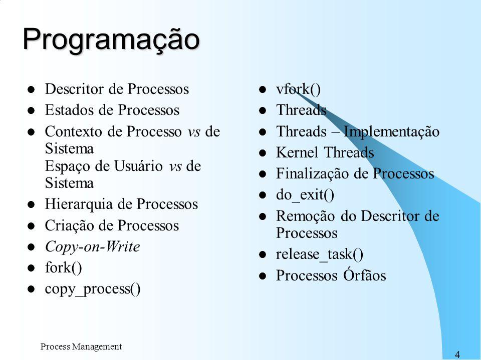 Process Management 4 Programação Descritor de Processos Estados de Processos Contexto de Processo vs de Sistema Espaço de Usuário vs de Sistema Hierar