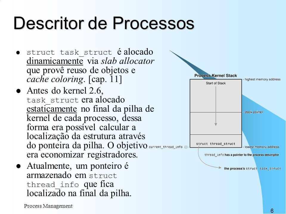 Process Management 6 Descritor de Processos struct task_struct é alocado dinamicamente via slab allocator que provê reuso de objetos e cache coloring.