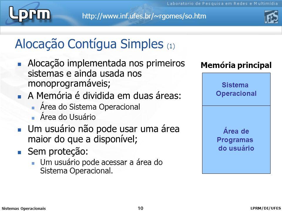 http://www.inf.ufes.br/~rgomes/so.htm Sistemas Operacionais LPRM/DI/UFES 10 Alocação Contígua Simples (1) Alocação implementada nos primeiros sistemas