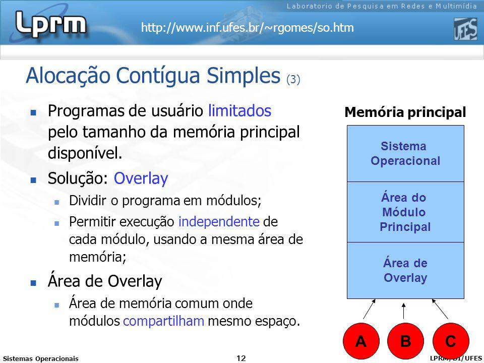 http://www.inf.ufes.br/~rgomes/so.htm Sistemas Operacionais LPRM/DI/UFES 12 Alocação Contígua Simples (3) Programas de usuário limitados pelo tamanho
