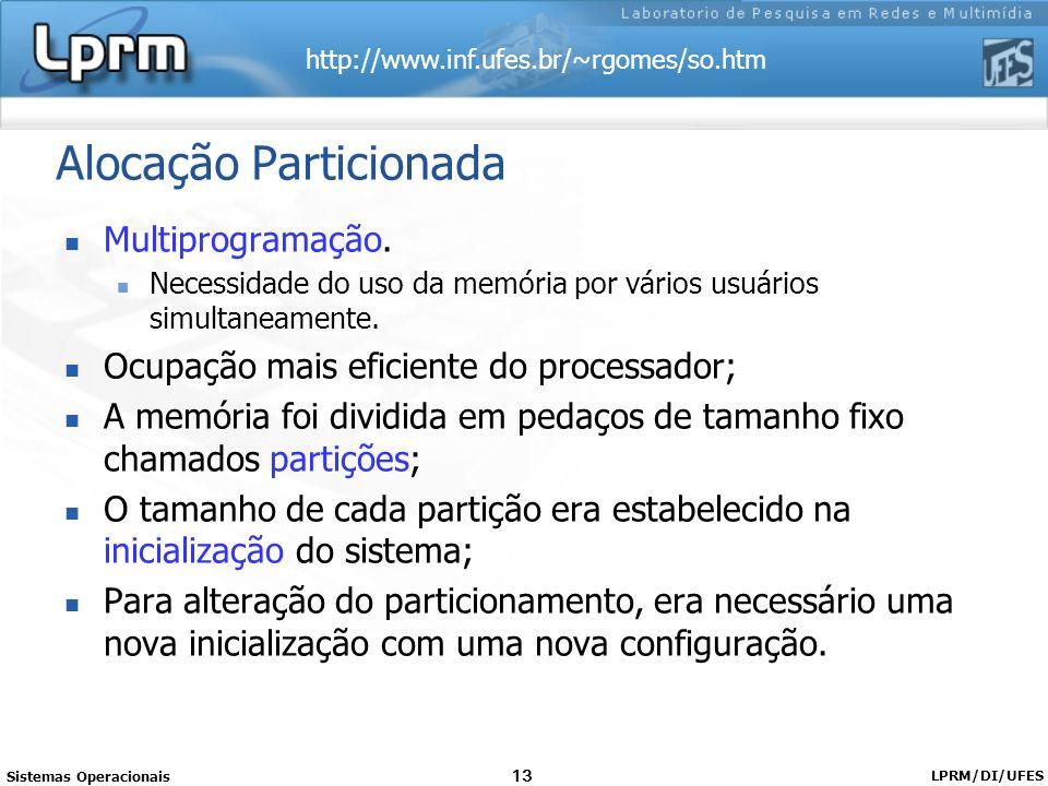 http://www.inf.ufes.br/~rgomes/so.htm Sistemas Operacionais LPRM/DI/UFES 13 Alocação Particionada Multiprogramação. Necessidade do uso da memória por