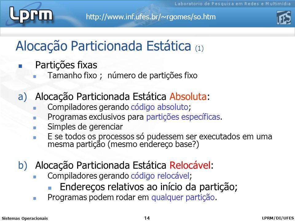 http://www.inf.ufes.br/~rgomes/so.htm Sistemas Operacionais LPRM/DI/UFES 14 Alocação Particionada Estática (1) Partições fixas Tamanho fixo ; número d