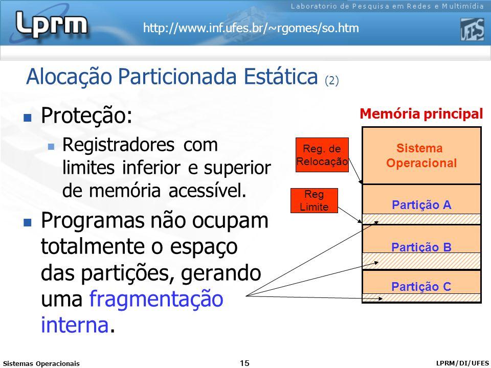 http://www.inf.ufes.br/~rgomes/so.htm Sistemas Operacionais LPRM/DI/UFES 15 Alocação Particionada Estática (2) Proteção: Registradores com limites inf