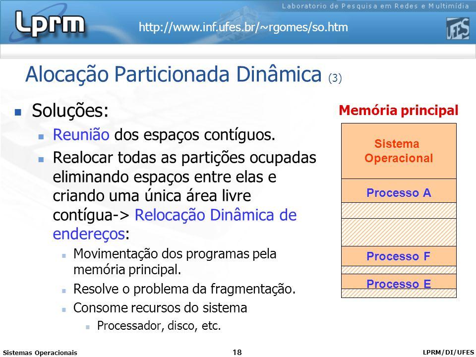 http://www.inf.ufes.br/~rgomes/so.htm Sistemas Operacionais LPRM/DI/UFES 18 Alocação Particionada Dinâmica (3) Soluções: Reunião dos espaços contíguos