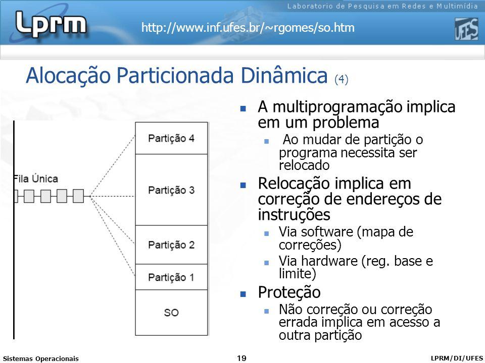 http://www.inf.ufes.br/~rgomes/so.htm Sistemas Operacionais LPRM/DI/UFES 19 Alocação Particionada Dinâmica (4) A multiprogramação implica em um proble