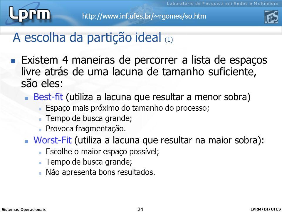 http://www.inf.ufes.br/~rgomes/so.htm Sistemas Operacionais LPRM/DI/UFES 24 A escolha da partição ideal (1) Existem 4 maneiras de percorrer a lista de