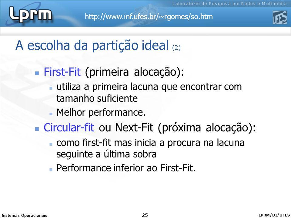 http://www.inf.ufes.br/~rgomes/so.htm Sistemas Operacionais LPRM/DI/UFES 25 A escolha da partição ideal (2) First-Fit (primeira alocação): utiliza a p