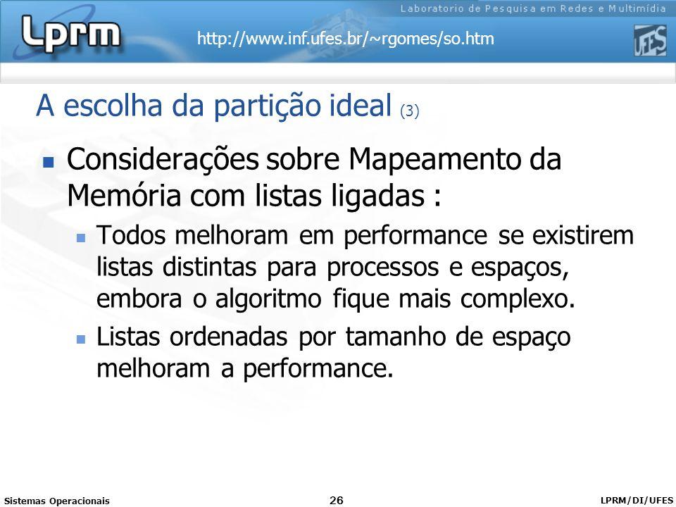 http://www.inf.ufes.br/~rgomes/so.htm Sistemas Operacionais LPRM/DI/UFES 26 Considerações sobre Mapeamento da Memória com listas ligadas : Todos melho