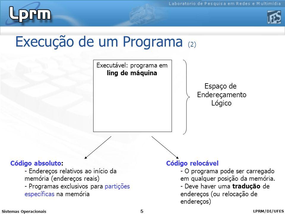 Sistemas Operacionais LPRM/DI/UFES 5 Execução de um Programa (2) Executável: programa em ling de máquina Espaço de Endereçamento Lógico Código absolut