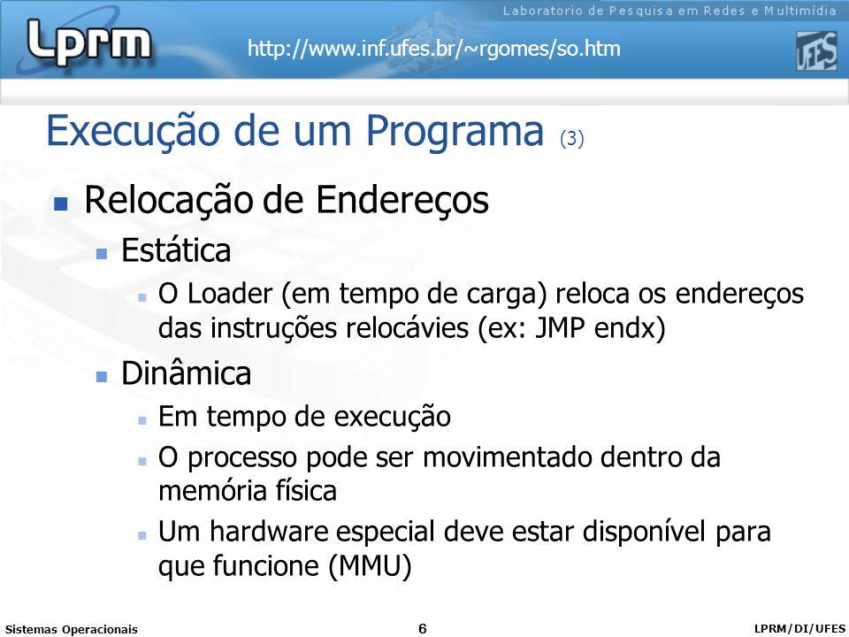 http://www.inf.ufes.br/~rgomes/so.htm Sistemas Operacionais LPRM/DI/UFES 6 Execução de um Programa (3) Relocação de Endereços Estática O Loader (em te