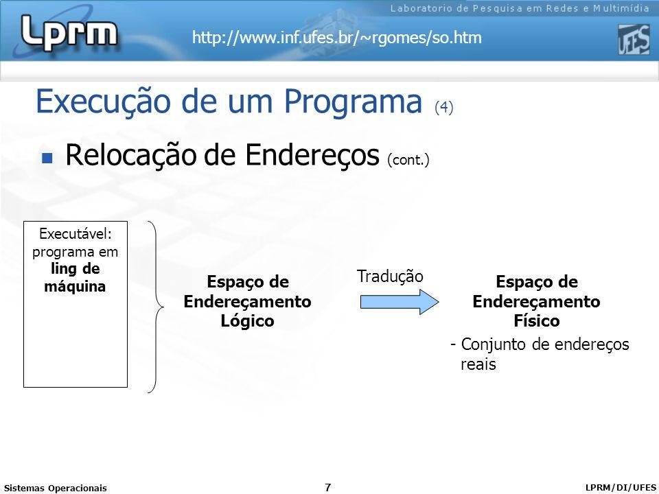 http://www.inf.ufes.br/~rgomes/so.htm Sistemas Operacionais LPRM/DI/UFES 7 Execução de um Programa (4) Relocação de Endereços (cont.) Executável: prog