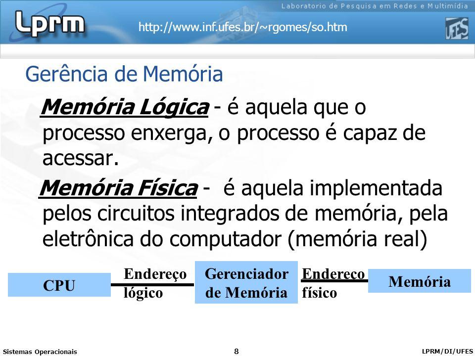 http://www.inf.ufes.br/~rgomes/so.htm Sistemas Operacionais LPRM/DI/UFES 8 Gerência de Memória Memória Lógica - é aquela que o processo enxerga, o pro