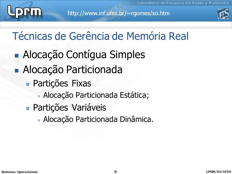 http://www.inf.ufes.br/~rgomes/so.htm Sistemas Operacionais LPRM/DI/UFES 9 Técnicas de Gerência de Memória Real Alocação Contígua Simples Alocação Par