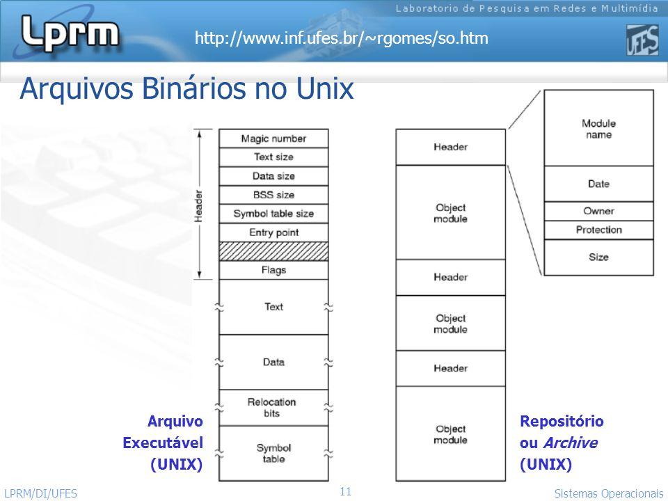 http://www.inf.ufes.br/~rgomes/so.htm 11 Sistemas Operacionais LPRM/DI/UFES Arquivos Binários no Unix Arquivo Executável (UNIX) Repositório ou Archive