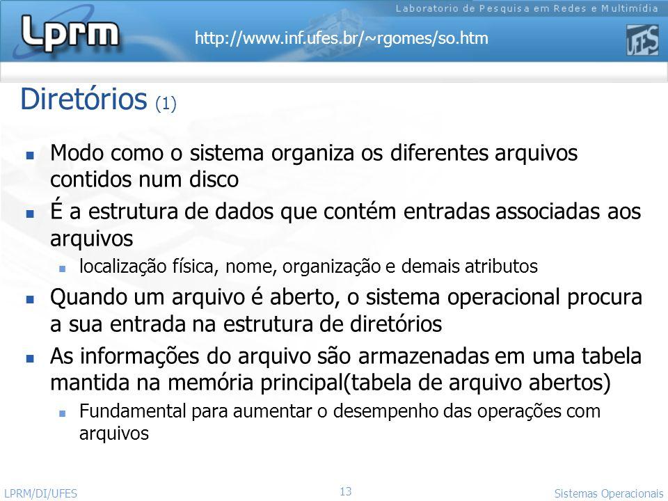 http://www.inf.ufes.br/~rgomes/so.htm 13 Sistemas Operacionais LPRM/DI/UFES Diretórios (1) Modo como o sistema organiza os diferentes arquivos contido
