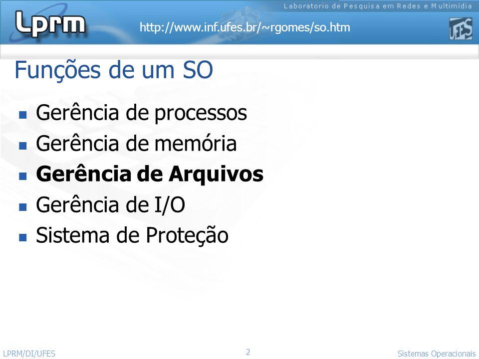 http://www.inf.ufes.br/~rgomes/so.htm 2 Sistemas Operacionais LPRM/DI/UFES Funções de um SO Gerência de processos Gerência de memória Gerência de Arqu