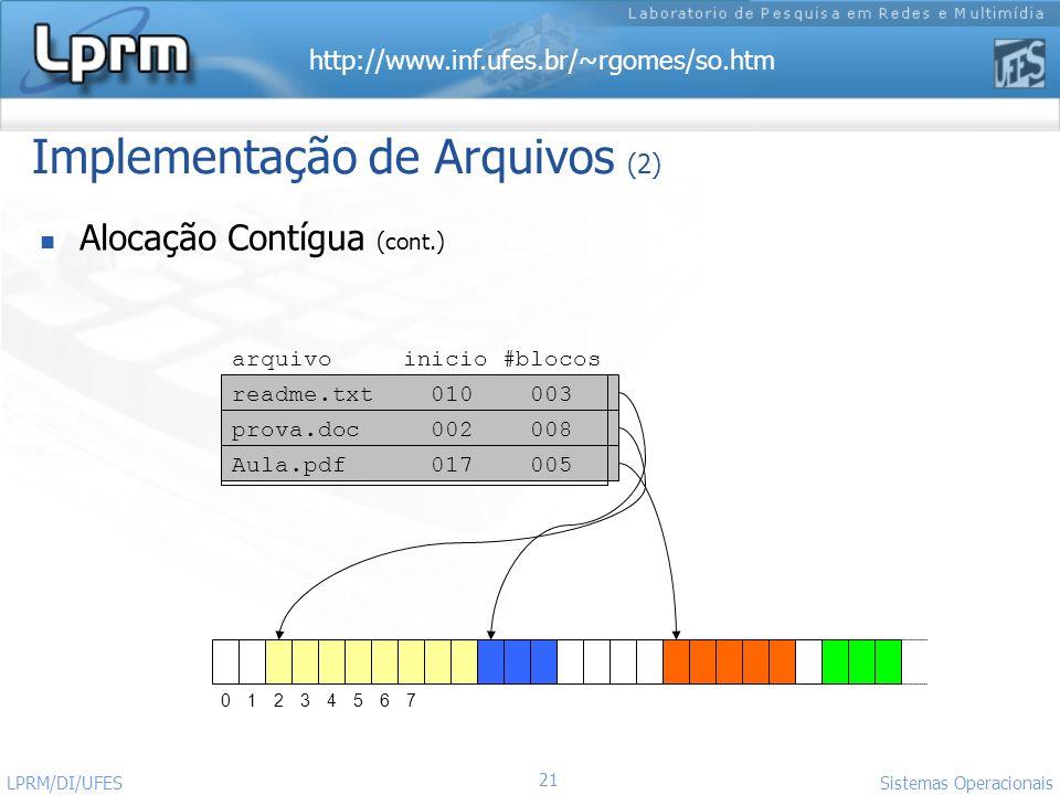 http://www.inf.ufes.br/~rgomes/so.htm 21 Sistemas Operacionais LPRM/DI/UFES Implementação de Arquivos (2) Alocação Contígua (cont.) readme.txt 010 003
