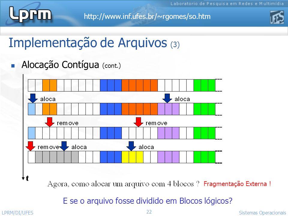 http://www.inf.ufes.br/~rgomes/so.htm 22 Sistemas Operacionais LPRM/DI/UFES Implementação de Arquivos (3) Alocação Contígua (cont.) Fragmentação Exter