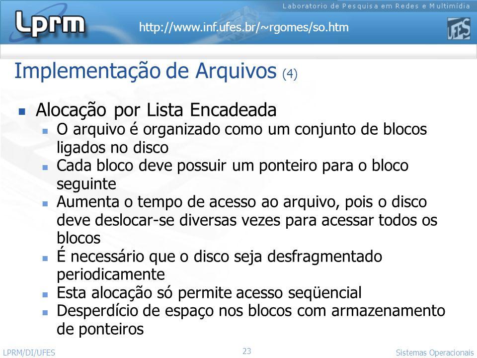 http://www.inf.ufes.br/~rgomes/so.htm 23 Sistemas Operacionais LPRM/DI/UFES Implementação de Arquivos (4) Alocação por Lista Encadeada O arquivo é org