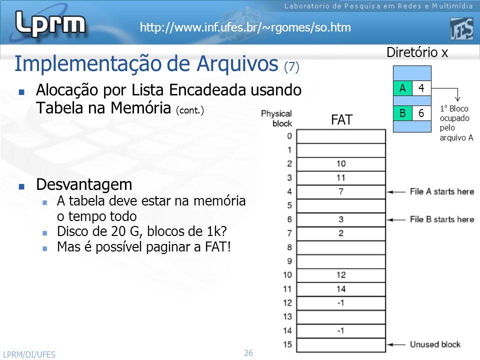 http://www.inf.ufes.br/~rgomes/so.htm 26 Sistemas Operacionais LPRM/DI/UFES Implementação de Arquivos (7) Alocação por Lista Encadeada usando Tabela n