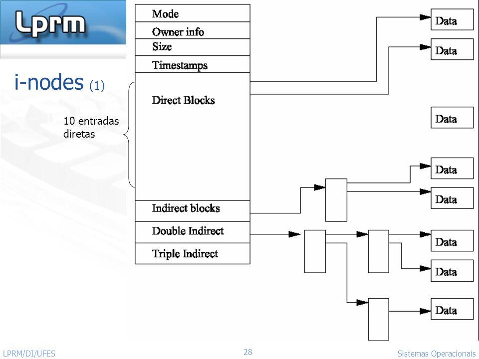 http://www.inf.ufes.br/~rgomes/so.htm 28 Sistemas Operacionais LPRM/DI/UFES i-nodes (1) 10 entradas diretas