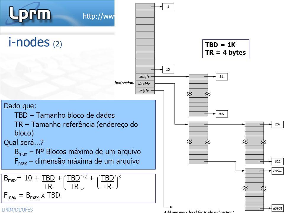 http://www.inf.ufes.br/~rgomes/so.htm 29 Sistemas Operacionais LPRM/DI/UFES i-nodes (2) Dado que: TBD – Tamanho bloco de dados TR – Tamanho referência
