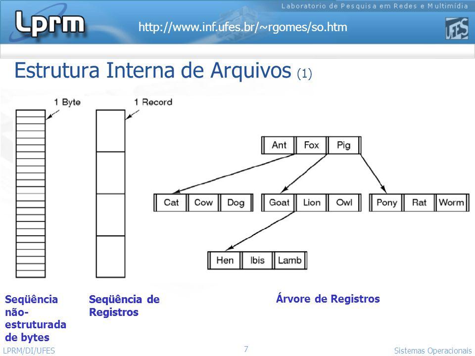http://www.inf.ufes.br/~rgomes/so.htm 7 Sistemas Operacionais LPRM/DI/UFES Estrutura Interna de Arquivos (1) Seqüência não- estruturada de bytes Seqüê