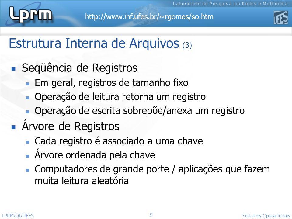 http://www.inf.ufes.br/~rgomes/so.htm 9 Sistemas Operacionais LPRM/DI/UFES Estrutura Interna de Arquivos (3) Seqüência de Registros Em geral, registro