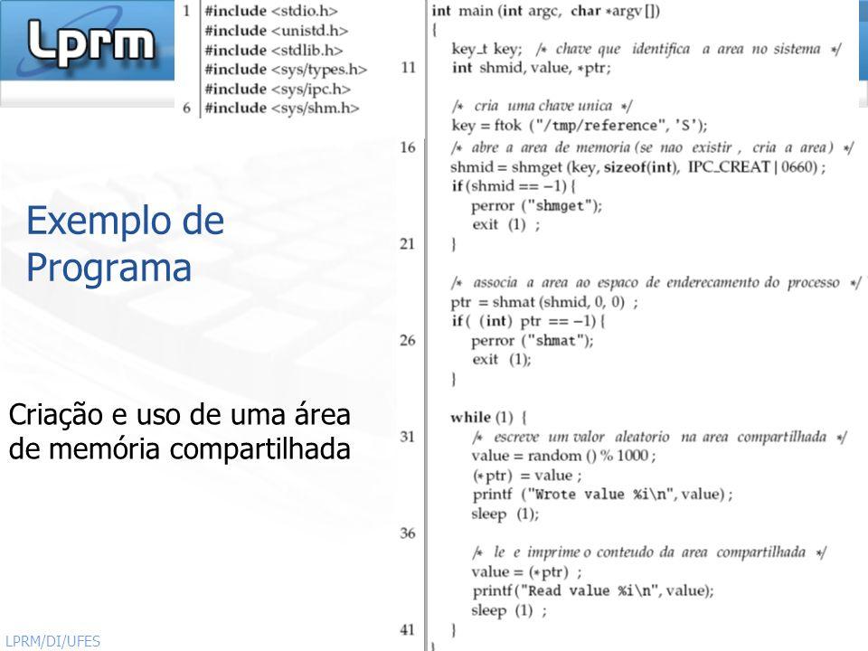 http://www.inf.ufes.br/~rgomes/so.htm 14 Sistemas Operacionais LPRM/DI/UFES Exemplo de Programa Criação e uso de uma área de memória compartilhada