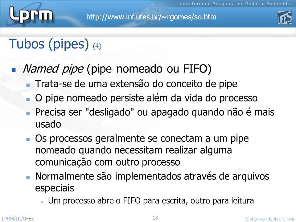 http://www.inf.ufes.br/~rgomes/so.htm 18 Sistemas Operacionais LPRM/DI/UFES Tubos (pipes) (4) Named pipe (pipe nomeado ou FIFO) Trata-se de uma extens