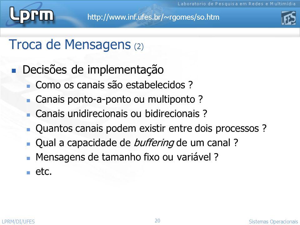 http://www.inf.ufes.br/~rgomes/so.htm 20 Sistemas Operacionais LPRM/DI/UFES Troca de Mensagens (2) Decisões de implementação Como os canais são estabe